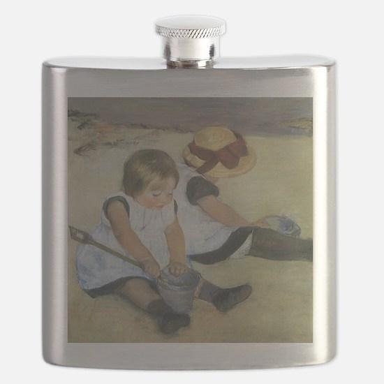 Mary Cassatt Children Playing on the Beach Flask