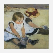 Mary Cassatt Children Playing on the  Tile Coaster