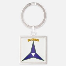 SSI - III Corps with Text Square Keychain