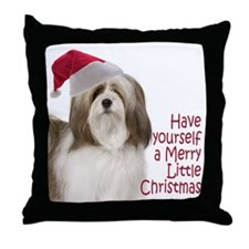 Santa Lhasa Apso Throw Pillow