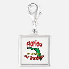 Florida Grandparent Motto Silver Square Charm