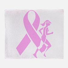 Pink Ribbon and Runner Throw Blanket