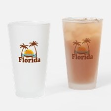 Florida - Palm Trees Design. Drinking Glass