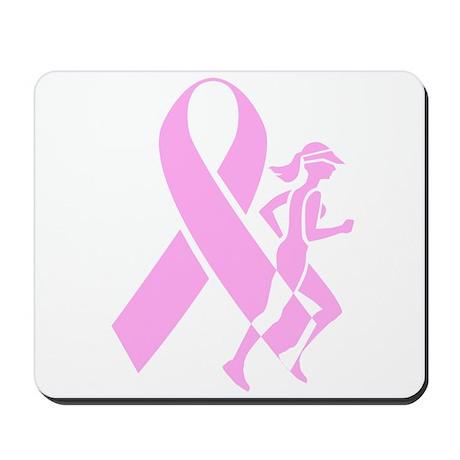 Pink Ribbon and Runner Mousepad