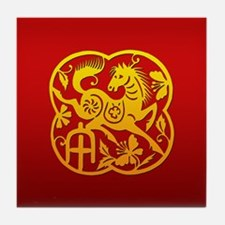 Chinese Papercut Year of The Horse Tile Coaster