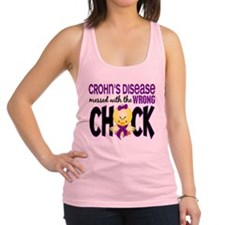 Crohn's Messed With Wrong Chick Racerback Tank Top
