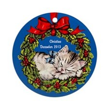 Personalized Kitten in Wreath Christmas Ornament