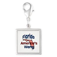 Florida America's Wang Silver Square Charm