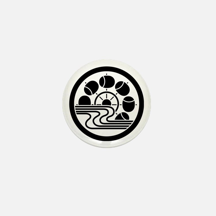 Water wheel with stream in circle Mini Button