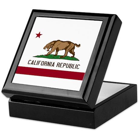 Smilodon California Flag Keepsake Box