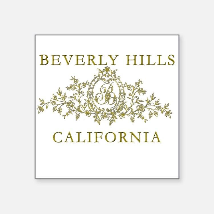 "Beverly Hills CA Square Sticker 3"" x 3"""