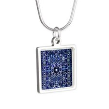 Oriental Rug Electric Blue Silver Square Necklace