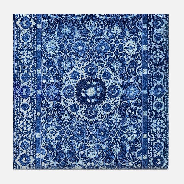 Oriental Rug Blue Tile Coaster