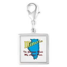 Illinois Motto - The Governor Silver Square Charm