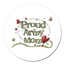 Proud Army Mom whimsy Round Car Magnet