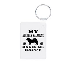 My Alaskan Malamute makes me happy Keychains