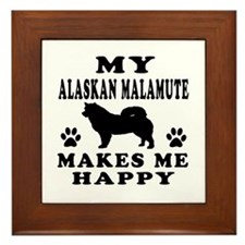 My Alaskan Malamute makes me happy Framed Tile