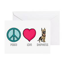 Peace Love & German Shepherds Greeting Cards (Pack