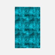 Aqua Teal Squares Pattern 3'x5' Area Rug