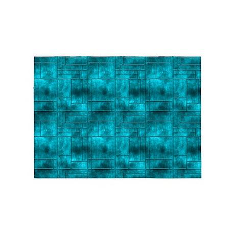 aqua teal squares pattern 5 39 x7 39 area rug by manchesterandbedding. Black Bedroom Furniture Sets. Home Design Ideas
