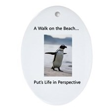 Penguin Walk Oval Ornament