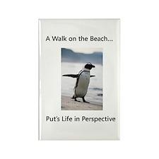 Penguin Walk Rectangle Magnet