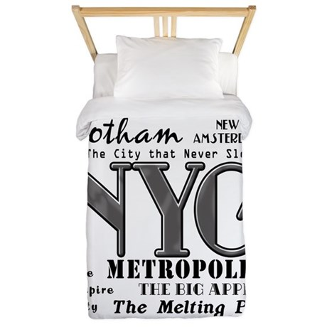 new york city with nicknames twin duvet by scarebaby. Black Bedroom Furniture Sets. Home Design Ideas