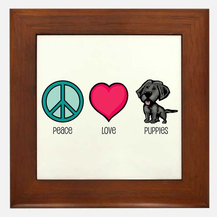 Peace Love & Puppies Framed Tile