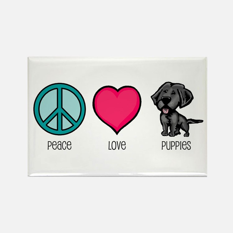 Peace Love & Puppies Rectangle Magnet