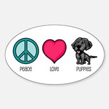 Peace Love & Puppies Oval Decal