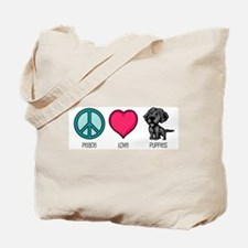 Peace Love & Puppies Tote Bag