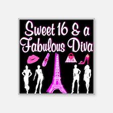 "16TH PARIS GIRL Square Sticker 3"" x 3"""