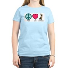 Peace Love & German Shepherds Women's Pink T-Shirt