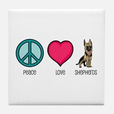 Peace Love & German Shepherds Tile Coaster
