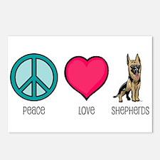Peace Love & German Shepherds Postcards (Package o