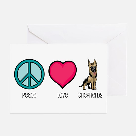 Peace Love & German Shepherds Greeting Cards (Pack