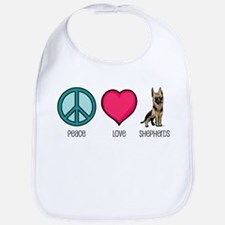 Peace Love & German Shepherds Bib