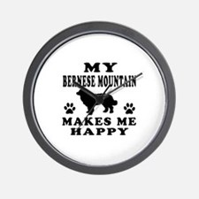 My Bernese Mountain makes me happy Wall Clock