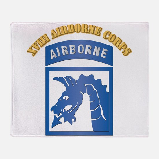 SSI - XVIII Airborne Corps with Text Throw Blanket