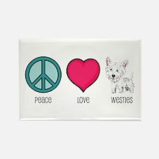 Peace Love & Westies Rectangle Magnet