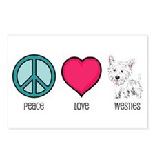 Peace Love & Westies Postcards (Package of 8)