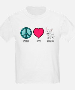 Peace Love & Westies Kids T-Shirt