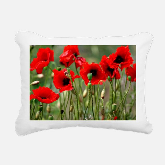 Poppy-Red Poppies Rectangular Canvas Pillow