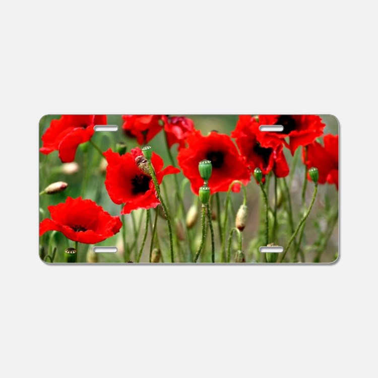 Poppy-Red Poppies Aluminum License Plate