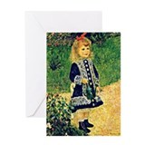 Girl with a watering can Greeting Cards