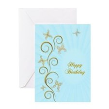 Birthday card with golden butterflies Greeting Car