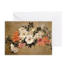 Petunias, floral painting by Henri F Greeting Card