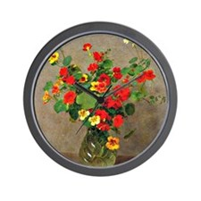 Nasturtiums, floral painting by Henri F Wall Clock