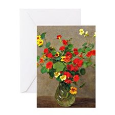 Nasturtiums, floral painting by Henr Greeting Card