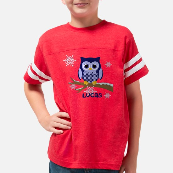 Custom name winter owl blue Youth Football Shirt